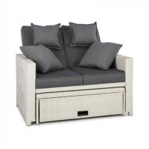 Blumfeldt Comfortzone rotan loungebank tweezits incl. klaptafel - wit