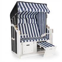Blumfeldt Hiddensee Strandstoel XL 2-zitter Ligstoel blauw / wit gestreept