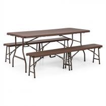 Blumfeldt Burgos öltältsmöblemang 3-delar bord + 2xbänk stål HDPE hopfällbar brun