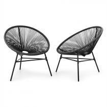 Blumfeldt Las Brisas Chairs 2 delat-set retro-design 4mm-väv svart