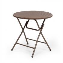 Burgos Round klaptafel polyrotan tafelblad 80 cm Ø 4 pers. bruin