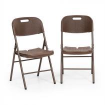 Blumfeldt Burgos Seat klappstol 2 delat-set HDPE stål rotting-look brun