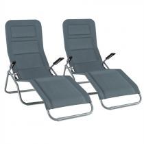Blumfeldt Vitello Noble Grey Zwembadligstoel 2-delige set Zonnenligstoel quick dry foam grijs