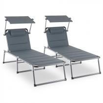 Blumfeldt Amalfi Noble Grey ligbank set van 2 bekleding stalen frame - grijs