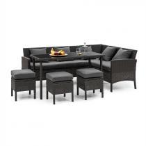 Blumfeldt Titania Dining Lounge Set tuinmeubilair zwart/ donkergrijs