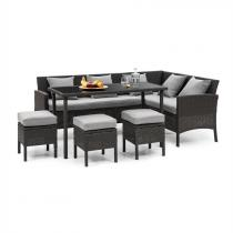 Blumfeldt Titania Dining Lounge Set tuinmeubilair zwart/ lichtgrijs