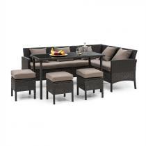 Blumfeldt Titania Dining Lounge Set tuinmeubilair zwart/ bruin