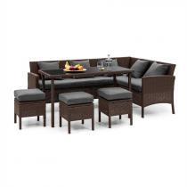 Blumfeldt Titania Dining Lounge Set trädgårdsmöbel brun / mörkgrå
