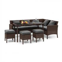 Blumfeldt Titania Dining Lounge Set tuinmeubilair bruin/ donkergrijs