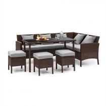 Blumfeldt Titania Dining Lounge Set trädgårdsmöbel brun / ljusgrå