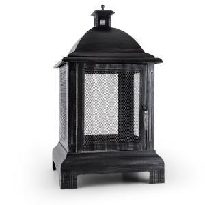 Loreo Burnished Steel Outdoor Lantern Garden Fireplace