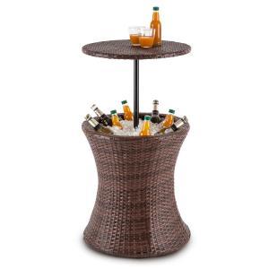 Beerboy mesa de jardín enfriador de bebidas Ø50cm poliratán bicolor marrón
