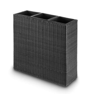 Blumfeldt Triumflor Vaso per Piante 3pz. 80x78x29 cm Polyrattan antracite