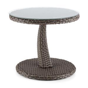 Tabula Side Table 50cm Glass Wicker Aluminum Bicolor Taube
