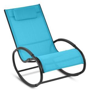 Blumfeldt Retiro Fauteuil à bascule Rocking chair aluminium & polyester - bleu