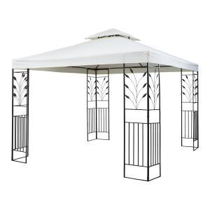 Odeon Beige Pavillon Partyzelt Festzelt 3x3m Stahl Polyester hellbeige