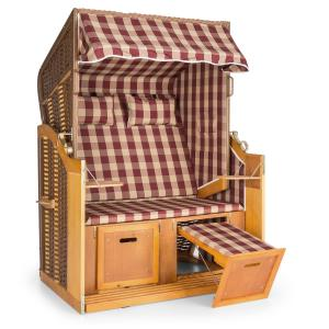 Hiddensee Wicker Beach Chair XL 2-seater sunbed red/white chequered