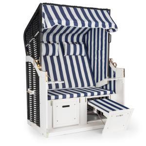 Hiddensee Sillón de playa XL 2 asientos Tumbona azul/blanco a raya