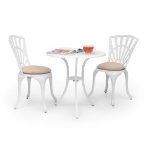 Valletta Set bistrot table 2 chaises & coussins alu moulé - blanc