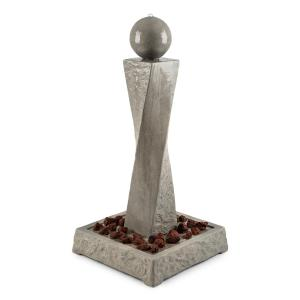 Trafalgar Gartenbrunnen 1,5m LED Fiberglas-Zement inklusive 4,5 kg Tuff-Ziersteine