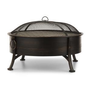 Catania 2-in-1 Feuerschale: Feuerstelle & Grill in einem | Ø 80 cm  | Grillrost: 70 cm | abnehmbarer Funkenschutz | Stahl im brünierten Look |  Tragegriffe