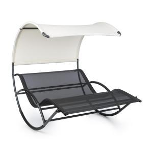 The Big Easy Schwingliege | Stahl-Rahmen mit 350 kg Tragegewicht | Liegefläche (LxB: 200 cm x 130 cm) | wetterfest | UV-  und Sonnenschutz | ergonomischer Liegekomfort für 2 Personen | Standvorrichtung mit Schaumschutz | Farbe: schwarz