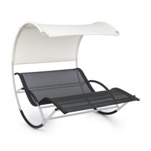 The Big Easy Schwingliege | Stahl-Rahmen mit 350 kg  Tragegewicht | Liegefläche (LxB: 200 cm x 130 cm) | wetterfest | UV- und Sonnenschutz | ergonomischer Liegekomfort  für 2 Personen | Standvorrichtung mit Schaumschutz | Farbe: silber