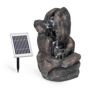 Felsquell Solar-Kaskadenbrunnen | Solarbetrieb | 2kW Solarpanel |  bis 8 Stunden Akkubetrieb | 3 LEDs | Miniaturpumpe mit 200l/h | 80 cm max.  Wasserhub | Material: Polyresin | frostbeständig