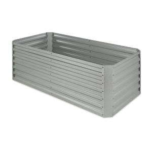 Blumfeldt High Grow Straight Raised Flower Bed Garden Bed 180x60x90cm 970l Steel Galvanized Silver