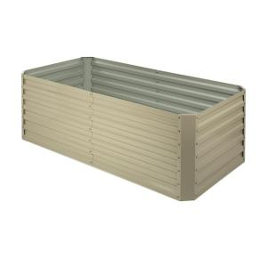 Blumfeldt High Grow Straight Raised Flower Bed Garden Bed 180x60x90cm 970l Steel Galvanized Beige