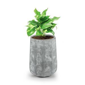 Decaflor Pflanztopf 40 x 50 x 40 cm Pflanzenkübel Pflanzkübel Pflanzgefäß |  extrem robustes Material: Fiberglas,  Fiberton und Magnesium | zehneckig mit abgerundetem Boden | Beton-Optik | ohne  Wasserablaufbohrung | für drinnen und draußen | hellgrau