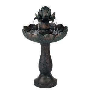 Rose Belle Gartenbrunnen Springbrunnen Zierbrunnen | Material:  Polyresin | frostbeständig | UV-stabil | romantisches Design |  Leistungsaufnahme: 6 Watt | für drinnen und draußen geeignet | Metalloptik  (patiniertes Kupfer)