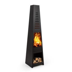 Monument Garden Fireplace Stainless Steel Storage Space for Wood Logs Black