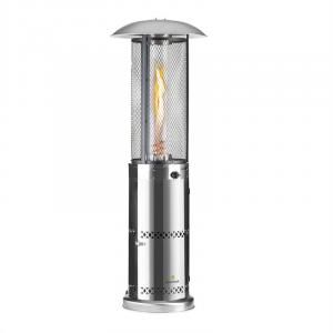 Goldflame Deluxe Terrassenheizstrahler 36.000BTU/11kW Temperglas mobil Edelstahl Silber