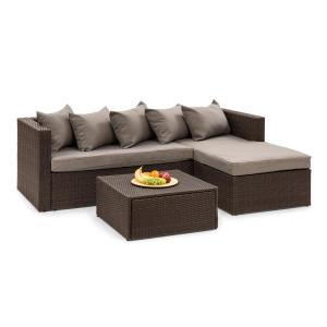 Blumfeldt Theia Lounge Set Garden Set Corner Couch Stool 5 Cushions Brown