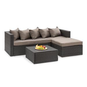 Blumfeldt Theia Lounge Set Garden Set Corner Couch Stool 5 Cushions Black