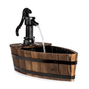 Starnberg Gartenbrunnen Zierbrunnen | 12W | in Form eines Boots | gusseiserne Schwengelpumpe | mit Teichfolie ausgekleidet | geschlossener Wasserkreislauf | flammenbehandeltes Tannenholz | Holz | braun