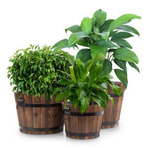 Trifloris Holzeimer-Set Blumenkübel Pflanztöpfe | 3 Holzbottiche aus Tannenholz | flammenbehandelt | mit Teichfolie ausgekleidet | gusseiserne Griffe | braun