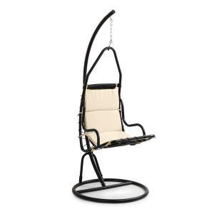 Serramazzoni EggChair Hängesessel | mit weichem Sitzpolster | verstellbare Sitzhöhe von 55-70 cm | Material Sitzpolster: Baumwolle/Polyester | Standfuß aus Stahl | creme