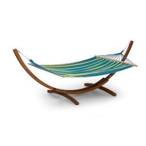 Bali STP Swing Hängematte | Schwingliege | Holzgestell aus Lärchenholz | Stoff aus 65 % Baumwolle und 35 % Polyester | Stylish Comfort | maximale Belastbarkeit: 160 kg | Größe: 200 x 150 cm (BxT) | gestreift