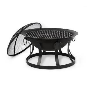 Pentos 2-in-1 Feuerschale und Grill | Ø 73 cm | abnehmbarer Funkenschutz | Grillrost: Ø 60 cm | FireView Concept | Gusseisen | Trageringe | inklusive Schürhaken und Grillrost | schwarz