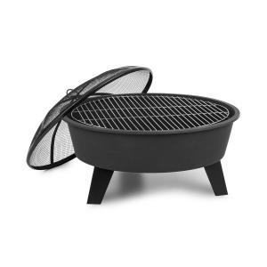 Blumfeldt Nolana 2-in-1 Fire Bowl Ø73cm Spark Protection Ø64cm Grill Steel Black