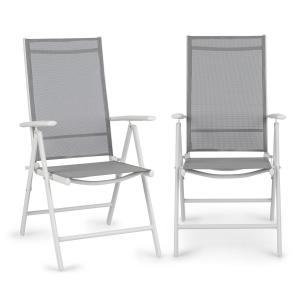 Almeria Garden Chair Gartenstuhl Klappstuhl | 2-er-Set | 56,5 x 107 x 68 cm | Rückenlehne mit 7 Positionen | ComfortMesh: luftdurchlässiges & wasserresistentes 2 x 2 Textilgewebe | Aluminium | weiß / hellgrau
