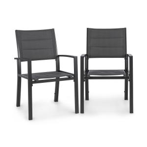 Blumfeldt Torremolinos Garden Chairs 2-pc Aluminium ComfortMesh Dark Grey