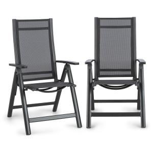 Blumfeldt Cadiz 2 chaises de jardin pliantes 59,5x107x 68 cm ComfortMesh anthrac