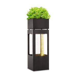 Waterplant Gartenbrunnen | stetiger Wasserumlauf mit Loopflow Concept | Pumpe mit 16 Watt | Schutzart: IPX8 | LED-Lichtleiste | Material: verzinktes Metall | inklusive Pflanzkübel
