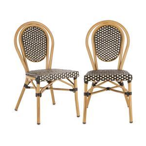 Montpellier BL Stuhl Bistrostuhl | stapelbar | Aluminiumrahmen | Polyrattan | Beine mit Pulverbeschichtung | einfache Reinigung | wetterfest | schwarz-creme