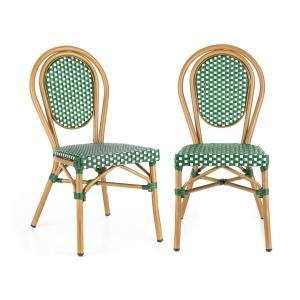 Blumfeldt Montpellier GR sedia impilabile telaio in alluminio polirattan verde