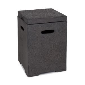Gas Garage | Aufbewahrungs-Box für Gasbehälter | Material:  Magnesia/MGO | Frostschutz | für Gasflaschen bis 8 kg | Maße: 41 x 56,5 x 41 cm  (BxHxT) | Gewicht: 12 kg | inklusive Regenschutz | dunkelgrau