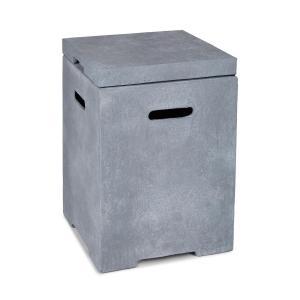 Gas Garage | Aufbewahrungs-Box für Gasbehälter | Material:  Magnesia/MGO | Frostschutz | für Gasflaschen bis 8 kg | Maße: 41 x 56,5 x 41 cm  (BxHxT) | Gewicht: 12 kg | inklusive Regenschutz | hellgrau